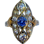 Early 1900's Sapphire Old European Cut Diamond Navette Style Ring