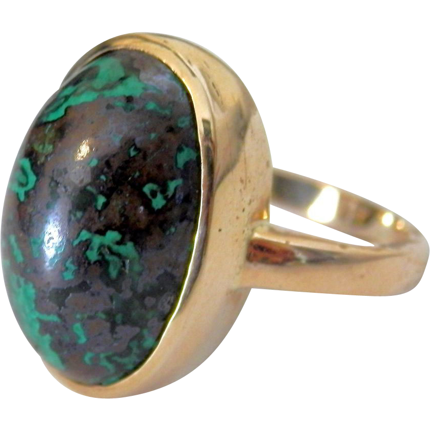 14K Yellow Gold Vintage Turquoise Ring
