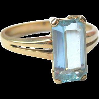 18K Gold Icy Blue Emerald-Cut Aquamarine H Stern Ring