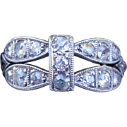 Art Deco Platinum Old Mine Cut Diamond Milgrain Ring