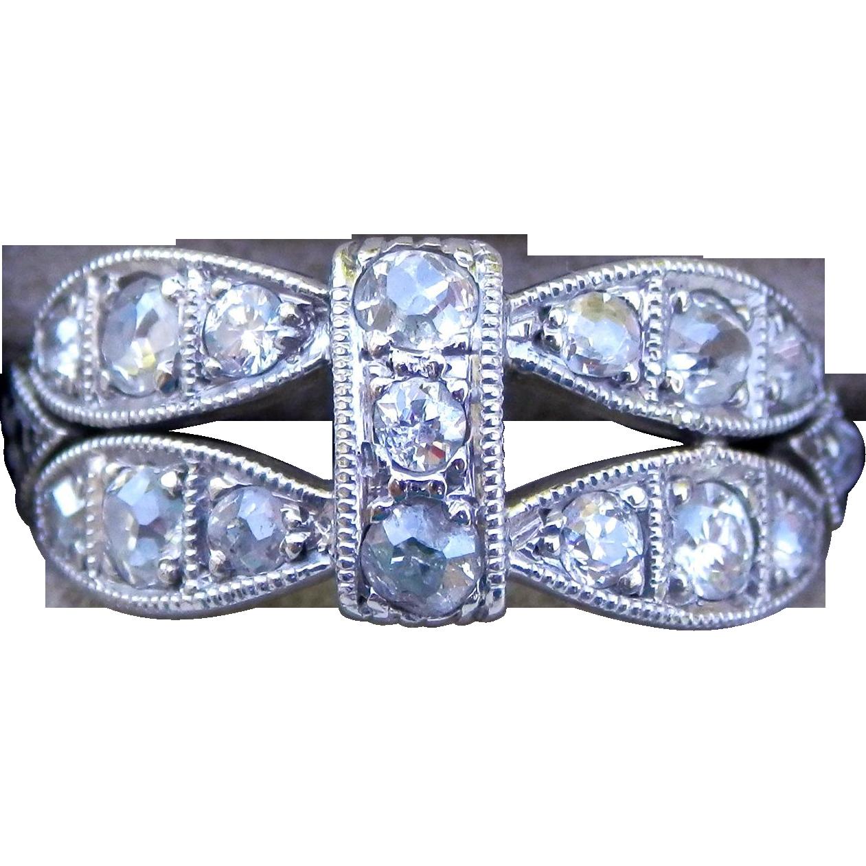Art Deco Platinum Old Mine Cut Diamond Milgrain Ring