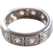 Excellent Art Deco Platinum Diamond Eternity Band Size 5