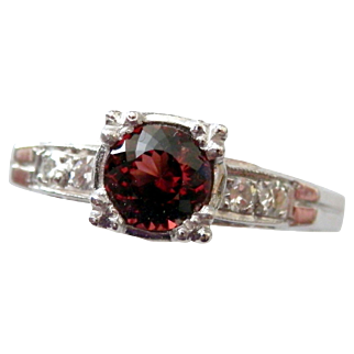 Platinum Raspberry Spinel Diamond Ring - Size 6.75 - Circa 1950's