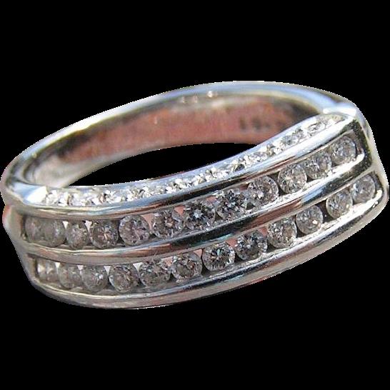 Sparkling Modernist Diamond Ring .67 carats 14K