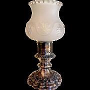 Ellis-Barker Silver Plated Hurricane or Boudoir Lamp Candle Stick with Glass Globe Menorah Mark