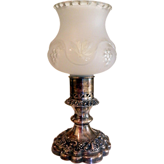 Ellis-Barker Silver Plated Hurricane or Boudoir Lamp Candle Stick with Glass Globe Menorah Mark