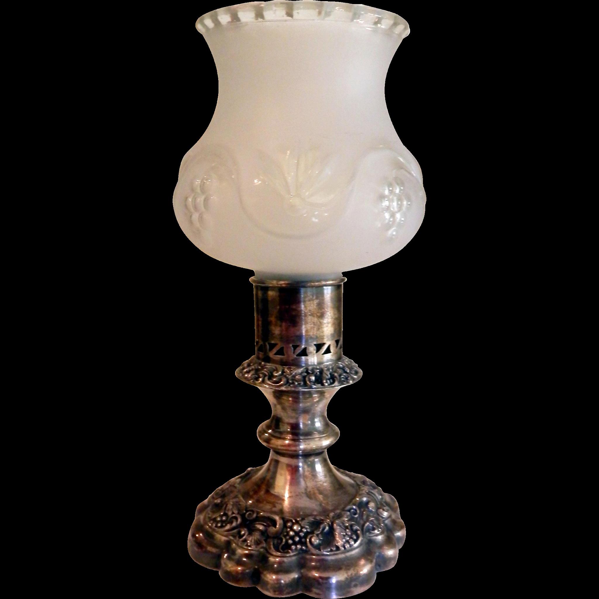 Ellis-Barker Silver Plated Hurricane or Boudoir Lamp Candle Stick ...