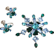 Blue & Green Rhinestone Pin & Screw Back Earrings Set