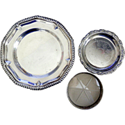 Silver Plate and Sterling Trio: Small Decorative Plate and Wine Coasters