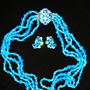 Gorgeous Glass Bead Necklace with Rhinestone Clasp & Earrings