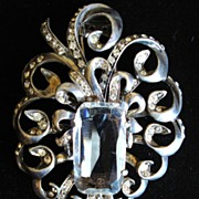 Magnificent Eisenberg Original Rhinestone & Sterling Fur Clip