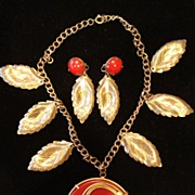 Early Plastic Pendant Necklace & Earrings Demi-Parure
