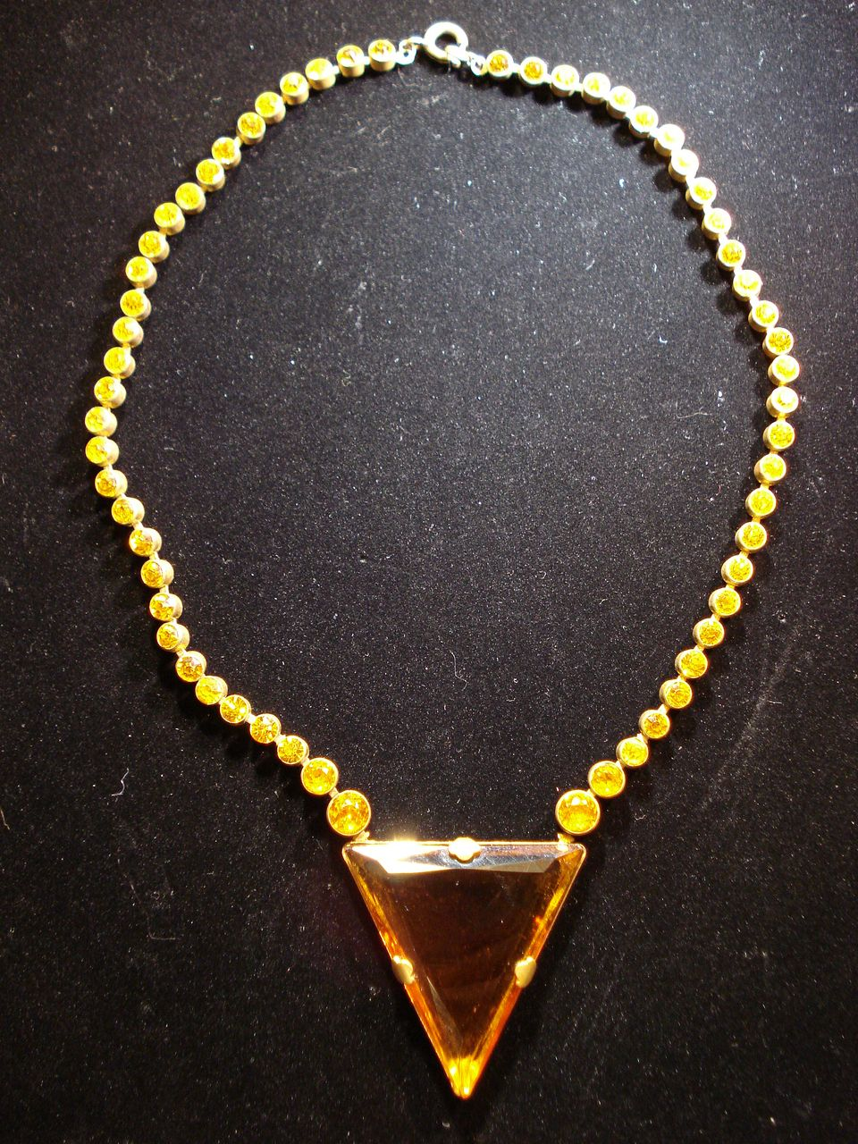 Art Deco Amber-Colored Rhinestone Necklace