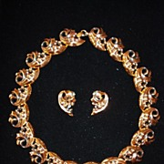 Copper Bib Scroll Design Necklace & Earring Set