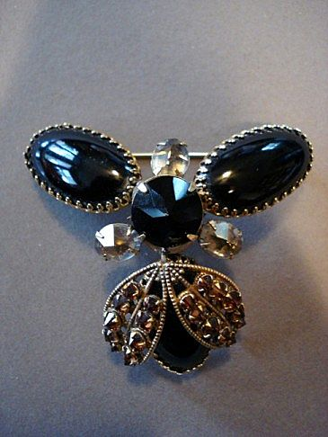 Schreiner Oversized Rhinestone Brooch/Pendant Necklace