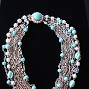 Faux Turqouise, Glass Pearl & Chain Necklace