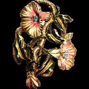 Deja Enameled Floral Brooch
