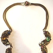 Beautiful Czech Multi-colored Rhinestone Necklace