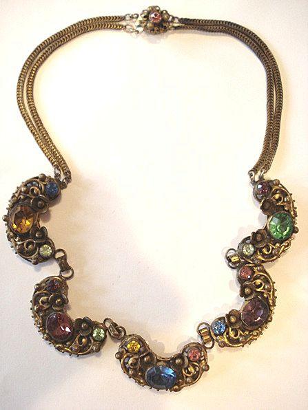 Beautiful Czech Multi-colored Rhinestone Necklace