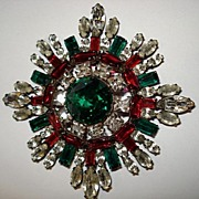 Huge Colorful Schreiner Attributed Rhinestone Brooch