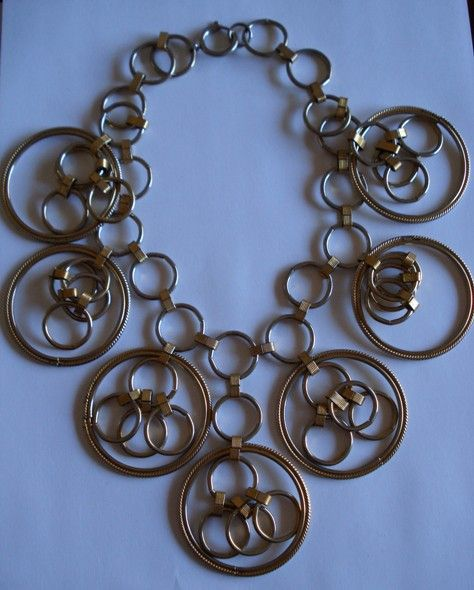 Fun Huge Gold Tone Bib Necklace