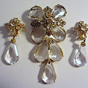 Gorgeous Schreiner Dangling Brooch/Pendant & Matching Earrings