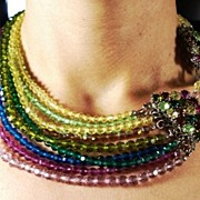 Fabulous Multi Colored Crystal Stranded Necklace with Fancy Clasp