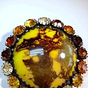 Very Large & Unusual Brooch with Rhinestones