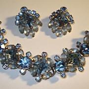 Juliana Powder Blue Rhinestone Bracelet & Earrings