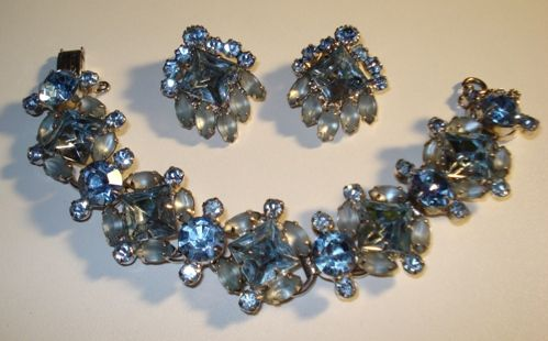 Juliana Powder Blue Rhinestone Bracelet & Earrings