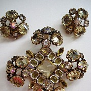 Schreiner Pale Yellow Dimensional Brooch & Earrings Set