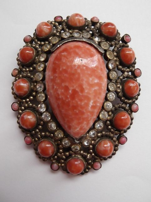 Wonderful Coral Glass Dress Clip