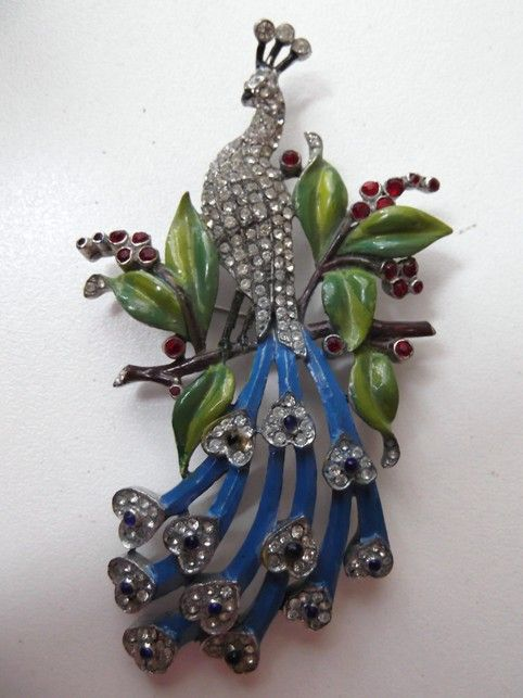 Gorgeous Rare DuJay Peacock Brooch