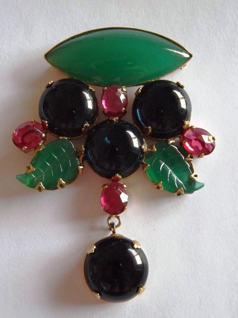Fabulous Schreiner Brooch/Pendant with Cabochon Dangle