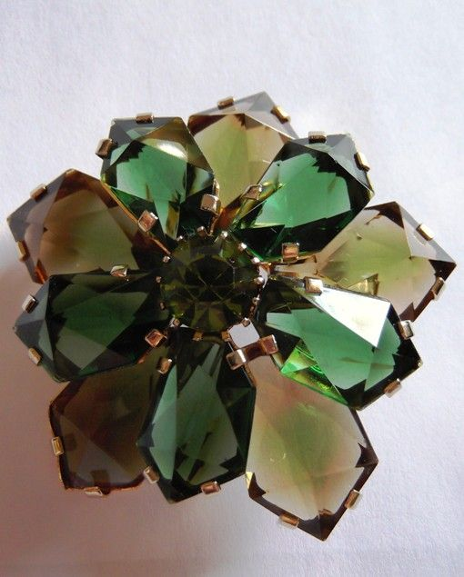 Austria Tiered Unique Shaped Glass Flower Brooch