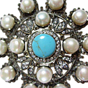 Fabulous Huge Sterling Turquoise & Pearl Pendant Necklace