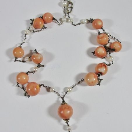 Real Coral & Freshwater Pearl Necklace
