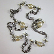 Unique Celebrity Rhinestone & Faux Pearl Long Necklace