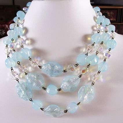 Blue Art Glass Beaded 3-Strand Necklace