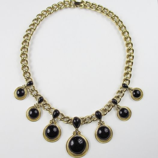 Trifari Gold Tone & Black Enamel Necklace