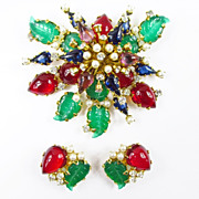 Schreiner Jewel Tone Brooch & Earrings Set