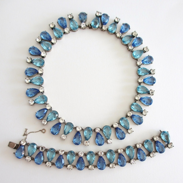 Blue Lover's Sterling Rhinestone Collar & Bracelet Set
