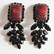 Red & Black Embossed Dangle Earrings