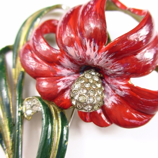 Rare Deja Enameled Flower Brooch