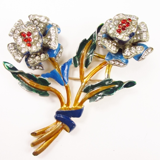 Rare TKF (KTF) Enameled Floral Trembler Brooch