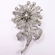 Huge & Spectacular Rhinestone Flower Brooch