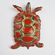 Red Enamel Turtle Fur Clip