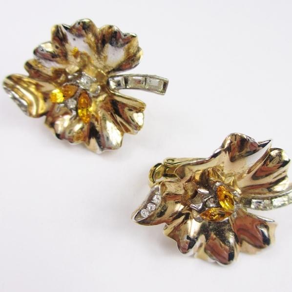 Trifari Leaf Earrings with Bug