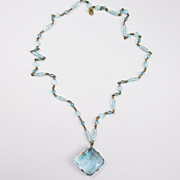 Lovely Blue Bezel Crystal Pendant Necklace