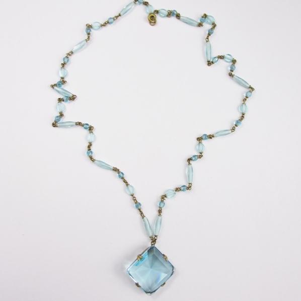 Lovely Blue Bezel Crystal Pendant Necklace